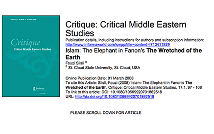 Islam The Elephant In Fanons The Wretche