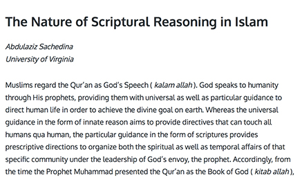 The Nature Of Scriptural Reasoning In Islam